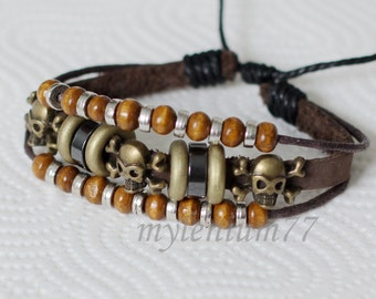 467 Men bracelet Women bracelet Leather bracelet Skull bracelet Crossbones bracelet Beads bracelet Rings bracelet Fashion bracelet
