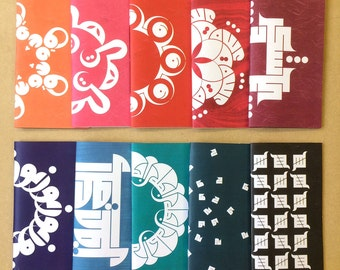CLEARANCE Calligraphic booklets, tall, 10 colours and designs