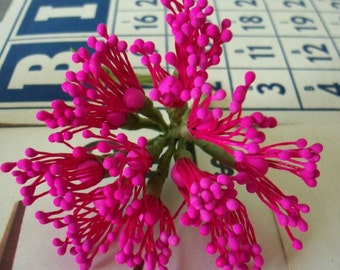 Floral Pips-Peps Flower Centers / Vintage Millinery / Matte Hot Pink / Stamens / Bunch of Twelve Stems