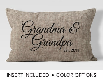 Personalized grandparent pillow - Pregnancy Reveal - Grandparent Gift - Grandparent Established - Grandma Pillow - Grandpa Pillow