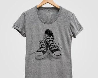 Womens Sneakers T Shirt Custom Hand Screen Print Tri-Blend Short Sleeve Available: S, M, L, XL