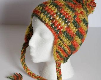 Crochet Ski Hat - Ski Hat with Ear Flaps - Pom Pom Beanie - Winter Ski Hat - Knit Ski Hat - Winter Accessory - Ready-To-Ship