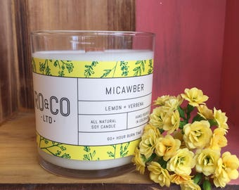 Lemon + Verbena Candle |Hand Poured|All Natural Soy Wax|Eco Friendly|Phthalate Free