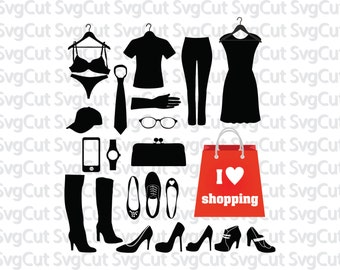 Shopping SVG, Style elements, Fashion SVG, Cut files for vinyl cutting machines Silhouette Cricut, Fashion clipart, Png Dxf Svg file