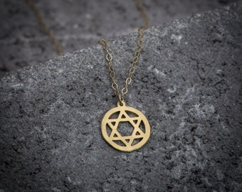 Gold necklace, Magen David necklace, dainty necklace, statement necklace, star of David necklace, judaica necklace, gift for her.