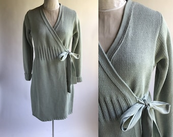 Vintage Gap Sweater Coat Blue Green/ Sea Foam Green Cotton Long Sweater Coat / Sweater Duster Size Medium