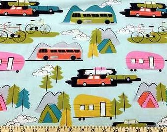 Camping Retro Travel Home Tents Campers Bicycles Cars Handcrafted Valance t2/23
