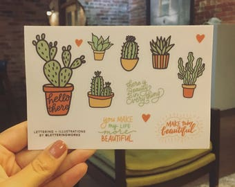 Succulent Sticker Sheet with Hand-Lettered Quotes