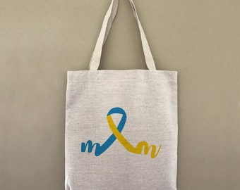 Custom Tote Bag Down Syndrome Ribbon Mom Customizable Personalized Gift For Her Down Syndrome Awareness Gift For Mom Mothers Day Gift Strong