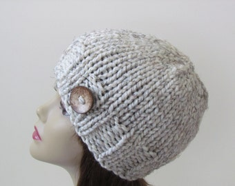 Chunky Knit Hat Knit Hat Winter Hat Women Teens Hat in Wheat with Coconut Shell Button Accent - Ready to Ship - Gift for Her