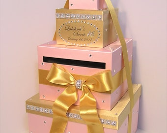 Quinceañera,Sweet 16,Birthday,Wedding Card Box Gold and Blush Pink Gift Card Box Money Box  Holder-Customize in your color