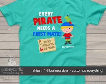 Pirate big brother shirt first mate pregnancy announcement DARK Tshirt MPRT-001-d