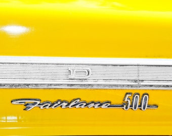 Ford Fairlane 500 Lettering Yellow Car Photography, Automotive, Auto Dealer, Classic, Car, Mechanic, Boys Room, Garage, Dealership Art