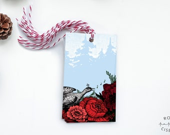 6 Gift Tags with strings Pheasant and flowers // Winter, Forest, Label, Card, Birthday, Gift Accessory, Christmas, Wine Label, Jam Label