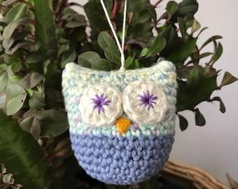 Crochet ornament . Christmas ornament . Crochet owl ornament .