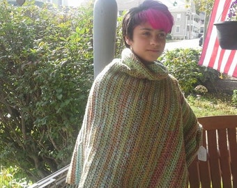 A warm and cuddly cowl-neck poncho