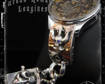 Vintage Longines Watch on Sapphire Skull Trident Bracelet in Sterling Silver | URBAN REMAINS