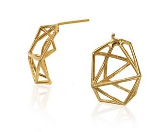 Geometric Stud Earrings, 14 Karat Yellow Gold Geometric Stud Earrings, Geometric Earrings,  Minimalist Earrings, Unique Earrings, Gold studs