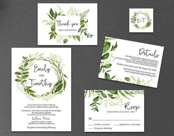 What Goes Into A Wedding Invitation: 5-Piece Suite-Greenery Wedding Invitation Templates Printable