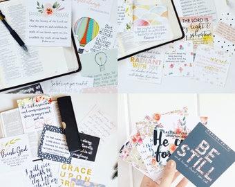 Scripture Card Bundle, Set of 32 Scripture Cards, Bible Verse Cards, Bible Memorization Cards