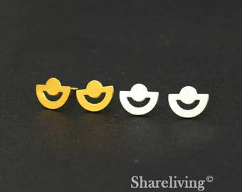 4pcs (2 Pairs) Silver, Golden Semicircle Stud Earring, Nickel Free, High Quality Brass Earring Post - ED431