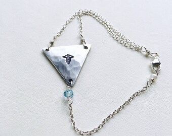 Medical Alert Bracelet, Medical ID Bracelet, Silver Charm Bracelet, Personalized Traingle Charm Bracelet