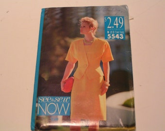 Vintage Butterick See and Sew Pattern 5543 Miss Jacket Dress