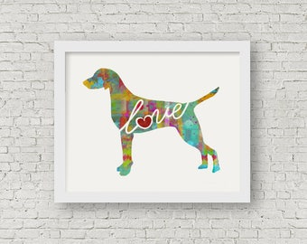 Vizsla Love - A Colorful, Bright & Whimsical Watercolor Print Home Decor Gift - Can Be Personalized with Name (+ More Breeds)