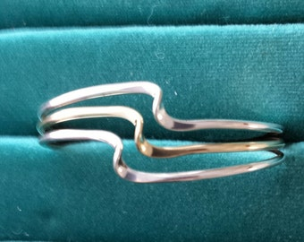 3 wave cuff bracelet sterling silver and brass