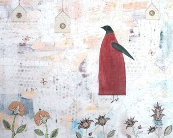 Extra Large Wall Art- Original Bird Art Collage and Acrylic Painting With Flowers. Makes a Great Nature Lover Gift.
