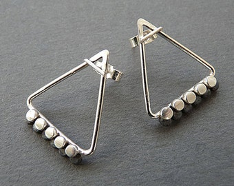 Sterling silver triangle studs. Silver stud earrings. Silver jewellery. Silver post earrings . Silver jewellery. Handmade. MADE TO ORDER.