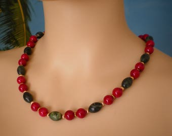 Necklace made with  green Serpentine Barrel Beads & red Fossil Beads, 21 Inches long