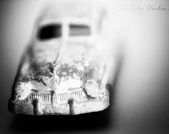 Fast Car : abstract toy car photo black white miniature macro photography monochrome surreal home decor 8x12 12x18 16x24 20x30 24x36