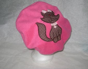 """Fleece beret pink adjustable """"Miss cat"""""""