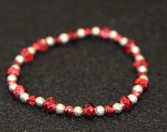 Silver and red Crystal Bracelet