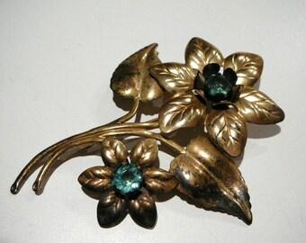 Vintage  Sterling Large Flower Brooch pin with aqua glass rhinestones Vermeil gold wash