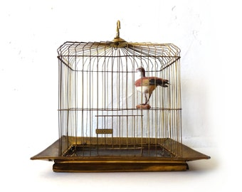 Antique Vintage Victorian Maxwell Brass Bird Cage