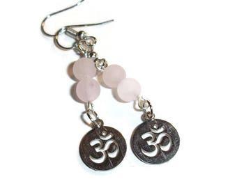 Rose Quartz Earrings Pink gemstone earrings Rose Quartz Ohm earrings meditation earrings metaphysical earrings feminine gift for her pink