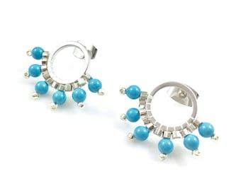 Hoop Turquoise Pearl Earrings Stud Style Dainty