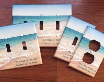 Beach ocean light switch plate cover sea tide sand // with or without text // SAME DAY SHIPPING**