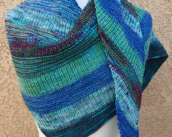 Hand Knit Shawl: Soft Merino Wool and Blue Stripes