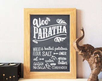 Indian Food Kitchen Print - Aloo Paratha, Home Decor, Dining Room, Wall Art, Chalk Effect, Restaurant, Cafe,  Ethnic Inspired,  UNFRAMED