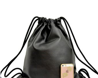 Leather Backpack,Black Leather Backpack,Minimal black Backpack,