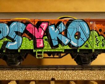 Wagon train Marklin HO graffiti - tag - handmade