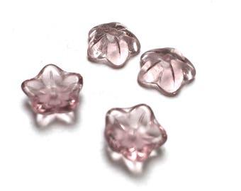 Czech Glass Cup Flower Beads. Light Amethyst. Flower Drops. 8mm. Twenty-Four (24).