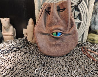 Dragon eye dice bag (Weathered Brown leather with Rainbow Eye)----New Style-----