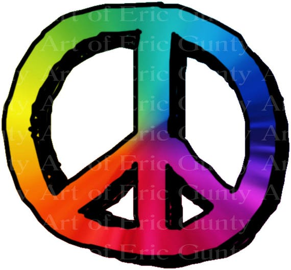 Rainbow Peace Sign Birthday - Edible Cake and Cupcake Topper For Birthday's and Parties! - D22965