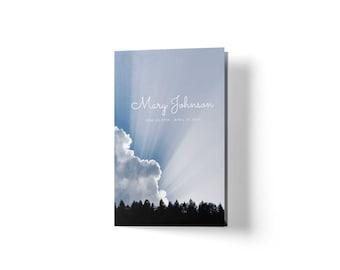 Funeral Program Template Blue - Blue Memorial Template - Obituary Template Blue - No Photo - Funeral Template Word - Mac and Microsoft