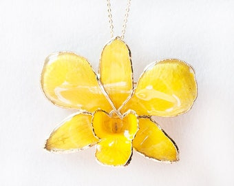 Real yellow orchid pendant
