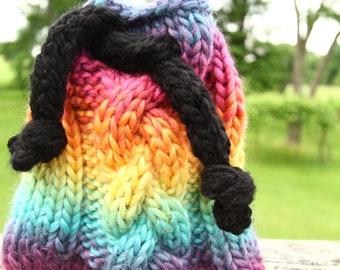rainbow braided cable knit crystal bag
